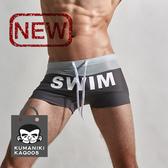 超值泳褲_撞色拼接上透氣網孔設計印花四角泳褲【偏小一碼】_灰色【KAQ005】