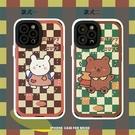 格紋熊兔iPhone13 Pro Max保護殼 卡通可愛蘋果13 Pro手機套 蘋果全包創意13保護套 IPhone 13日韓手機殼