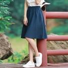 短裙女半身裙夏新款文藝學生亞麻及膝百褶裙高腰復古A字棉麻中裙 果果輕時尚