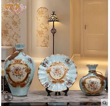 歐式陶瓷花瓶花插三件套工藝品擺設裝飾品酒店酒櫃玄關電視櫃擺件
