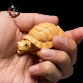 黃楊木雕手把件金錢龜汽車實木飾品雕刻工藝品擺件小烏龜