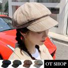 [現貨]帽子 棉麻八角帽 報童帽 日韓系英倫風學院風格紋 帽圍可調 復古文青穿搭配件 C2118 OT SHOP