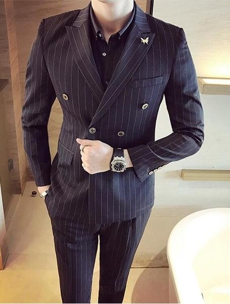 找到自己品牌 韓國男 經典條紋雙排扣 小西裝 修身西裝 西裝外套 單件外套