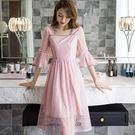 甜美方領波點網紗喇叭袖及膝中長款連身裙洋裝[98890-QF]美之札