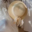 紳士帽 兒童寶寶草帽女蕾絲帶網紅小禮帽女夏日系平頂百搭防曬遮陽沙灘帽 快速出貨