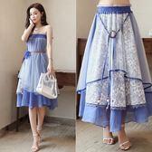 新款復古民族風長裙紗兩穿抹胸裙很仙的網紗半身裙子女夏chic