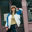 Queen Shop【02071012】配色織帶袖撞色造型棒球外套*現+預*