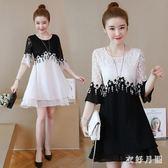短袖洋裝 女裝新款雪紡拼接蕾絲中裙寬鬆遮肚大碼洋氣連身裙 EY6346【衣好月圓】