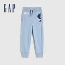Gap男幼童 碳素軟磨系列 法式圈織童趣鬆緊休閒褲 848184-淺藍色