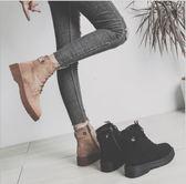 丁果、大尺碼女鞋34-43►2018秋冬新款韓版百搭復古風絨面馬丁靴女短靴子*2色