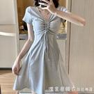 2021年夏裝新款裙子赫本風小黑裙港風心機設計感小個子連衣裙女夏 美眉新品