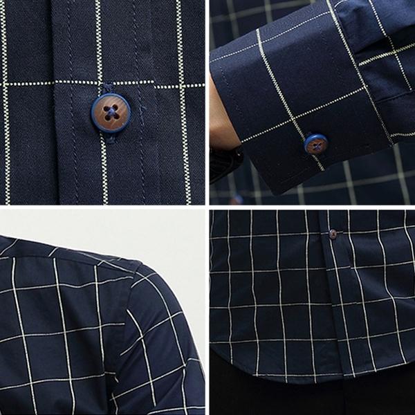 Free Shop 韓版細線格紋棉質長袖襯衫 英倫風修身格紋襯衫 格紋長袖襯衫 小中大尺碼【QTJ1311】