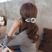 髮夾頭飾成人百搭優雅娟紗花朵森繫彈簧夾頂夾一字夾劉海髮卡三角衣櫥