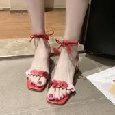 粗跟涼鞋綁帶涼鞋女2020夏季新款韓版粗跟漂亮高跟鞋氣質晚晚涼鞋女仙女風 衣間迷你屋