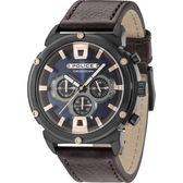 【台南 時代鐘錶 POLICE】義式潮流 強悍態勢 三眼計時腕錶 15047JSB-03 皮帶 深藍/咖啡 50mm