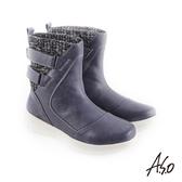 A.S.O 異材質拼接 布料拼接牛皮休閒靴