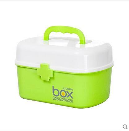 優然  家用小藥箱急救箱醫藥箱家庭雙層手提-炫彩店(大號綠色)