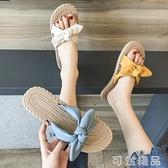蝴蝶結拖鞋女夏外穿年新款百搭休閒時尚平底一字拖網紅涼拖鞋 可然精品