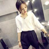 (低價促銷)白色雪紡襯衫女短袖春裝新品韓版正韓寬鬆百搭學生V領上衣女襯衣
