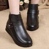 雪地靴女 皮靴 新款頭層牛皮媽媽棉鞋大碼真皮女靴 保暖鞋 防滑耐磨軟底短靴《小師妹》sm2473