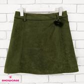 【SHOWCASE】輕暖毛呢絨感簡約顯瘦心機吊飾A字短裙(綠)