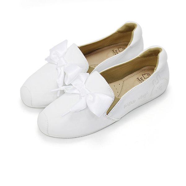 Paidal x 卡娜赫拉的小動物 P助&粉紅兔兔同色電繡公主緞帶鞋樂福鞋-白