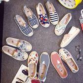 現貨出清秋季帆布鞋女休閒鞋一腳蹬平底老北京布鞋低筒漁夫鞋透氣懶人單鞋10-2