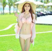 泳衣  韓國新款小胸鋼托聚攏比基尼三件套泳衣女披紗泳裝性感分體遊泳衣