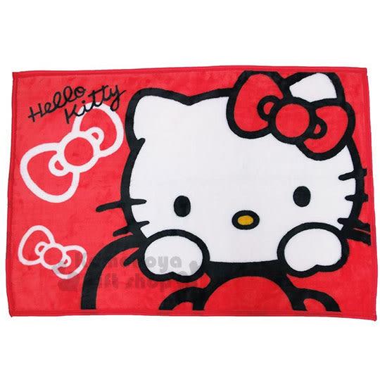 〔小禮堂〕Hello Kitty 隨身披肩毯《紅.趴蝴蝶結.大臉》70x100cm 4992272-62361