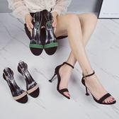 高跟涼鞋女2018新款韓版百搭露趾細跟一字扣小清新 JA2362『美鞋公社』