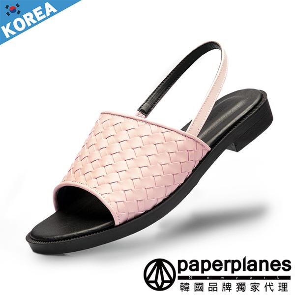 正韓製 版型正常 自然氛圍 普普編織 皮革 穿搭神器 涼拖鞋【B7900259】3色 韓國紙飛機-SD韓美鞋