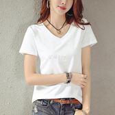 純白色V領短袖T恤女寬鬆大碼韓版半袖體恤打底上衣服  伊莎公主