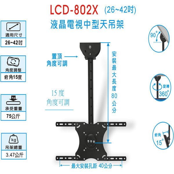 液晶/ 電漿 電視壁掛吊架  (17~42吋) 【LCD-802X】**免運費**