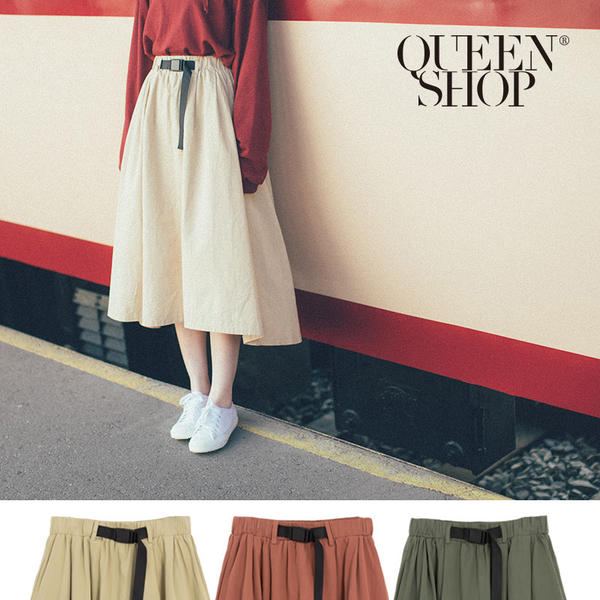 Queen Shop【03020563】釦帶造型A字中裙 三色售*現+預*