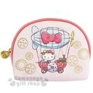 〔小禮堂〕Hello Kitty 半圓皮質拉鍊化妝包《粉.熱氣球》收納包.筆袋 4901610-60655