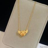 鍍金項鍊 - 禮物黃金飾品仿真金銅鍍金豆愛心天使項鍊 鎖骨項鍊久不褪色結婚禮物