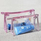 透明化妝包小號便攜簡約大容量旅行防水韓國手包式洗漱手提收納包   LannaS