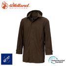【Wildland 荒野 男 長版防水可脫帽時尚外套《常春藤綠》】0A72906/風雨衣/防水外套/大衣