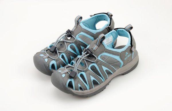 女款 佳績布魔鬼氈設計織帶護趾 運動涼鞋 灰藍 59鞋廊