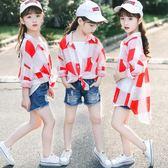 夏季女童防曬衣韓版兒童薄款透氣七分袖襯衫外套女孩外出服潮 全館免運