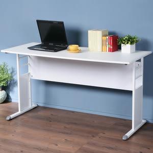 Homelike 巧思辦公桌-仿馬鞍皮140cm桌面:黑/桌腳:白/飾板:白