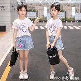 女童夏裝2018新款韓版牛仔短褲套裝兒童中大童夏季女孩熱褲潮  LannaS