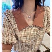 襯衫 短袖格子襯衫女夏裝大碼胖mm女士雪紡衫襯衣設計感小眾泡泡袖上衣 夢藝家