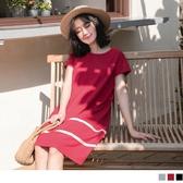 《DA5372-》下襬條紋拼接高含棉洋裝 OB嚴選