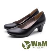 【南紡購物中心】W&M V型氣質舒適粗跟 中跟女鞋-黑
