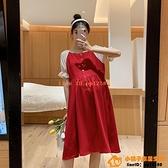 洋裝連身裙孕婦裝夏裝時尚寬松顯瘦喇叭袖撞色洋氣裙子潮辣媽網美孕婦連身裙【小桃子】