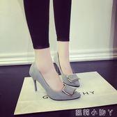 高跟鞋秋季方扣尖頭細跟淺口黑色絨面百搭工作單鞋女 蘿莉小腳ㄚ
