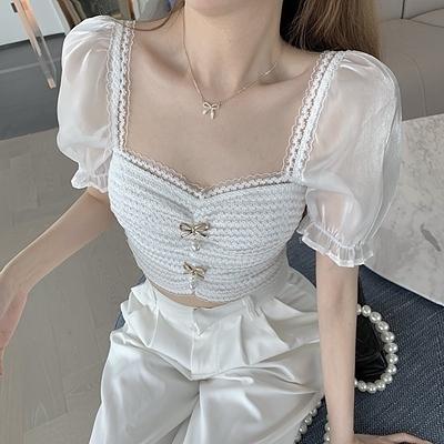 韓版上衣小衫法式百搭方領性感小心機泡泡袖短款小衫1F064-A.胖丫