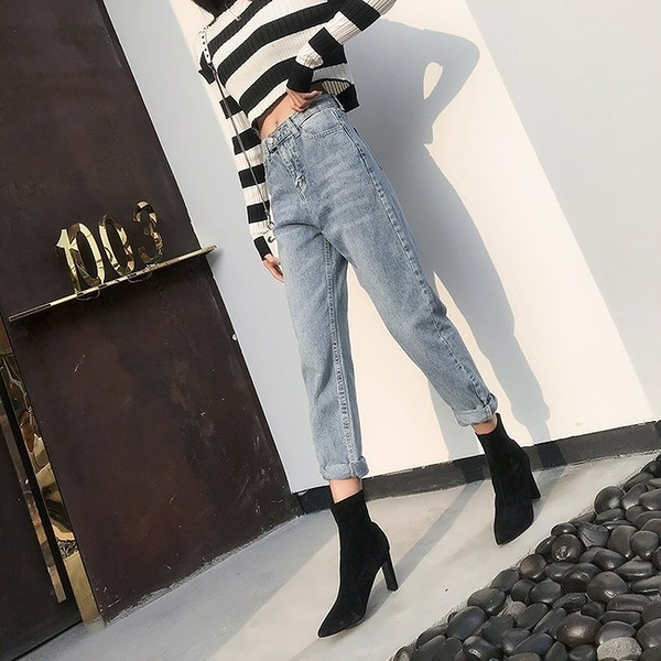 FINDSENSE 正韓女裝 夏季 彈性 窄管 直筒牛仔褲 G6 淺藍 寬鬆 顯