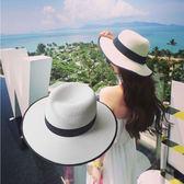 夏天大帽檐M草帽禮帽女士夏季韓版太陽帽